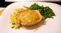 Liz and Helen's crab tart with samphire and peas starter on My Kitchen Rules