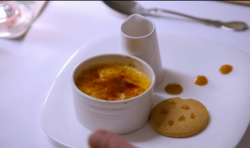 Jennie and Will's creme brulee with rhubarb puree and ginger shortbread dessert on My Kitc ...