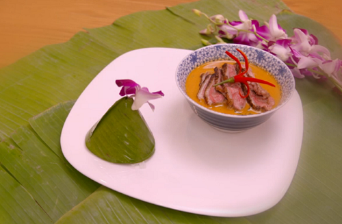 Angela and James Thai red curry with duck and jasmine rice main course on My Kitchen Rules