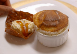 Liz and Helen's hot lemon souffles with lemon curd and brandy snaps on My Kitchen Rules