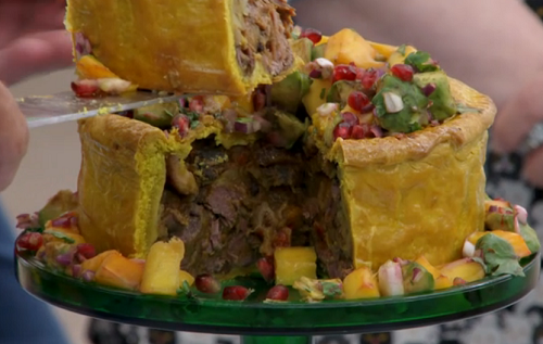 Liam's 'nan's Sunday Dinner' hand raised showstopper pie on The Great Br ...