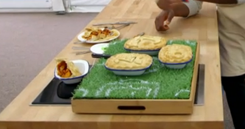 Liam's 'Standard FC' decorative pies on The Great British Bake Off