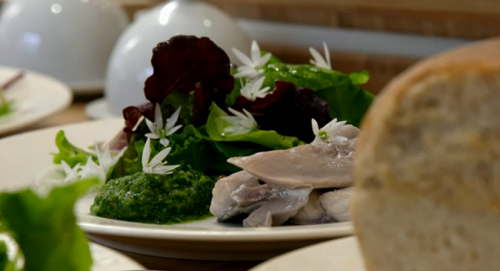 Sam and Neil's mackerel with verde sauce and cheat's bread starter on My Kitchen Rules