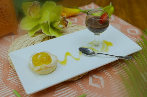 Natalie and Jade's caramelised mango tart with 'captain to die for' chocolate  ...