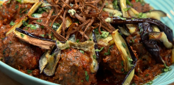 The Pigott's spicy meatballs with blue cheese on The Big Family Cooking Showdown
