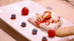 Jacqueline and Andrew's raspberry nougat parfait with langes de chat biscuits on My Kitche ...