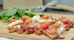 Chris Bavin polenta pizza with polenta chips on Eat Well for Less?