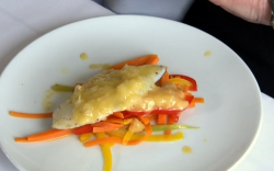 Dick Strawbridge pan fried pollock with beurre blanc sauce starter on The Hungry Sailors