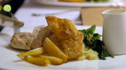 Jenni and Will's roast chicken breast with celeriac mash and a spinach and cider sauce dis ...