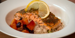 The Karim Family marinated salmon with rice and butternut squash on The Big Family Cooking Showdown