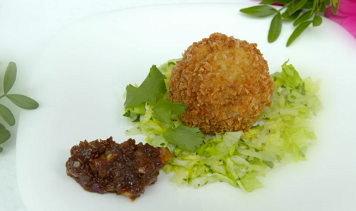 Lucy and Emily's African scotch egg on My Kitchen Rules