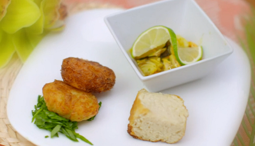 Nathalie and Jade's spicy smoked fish bouillabaisse with Guyanese cod fish cakes starter o ...
