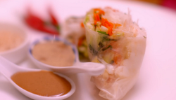 Angela and James langoustine  summer rolls starter on My kitchen Rules