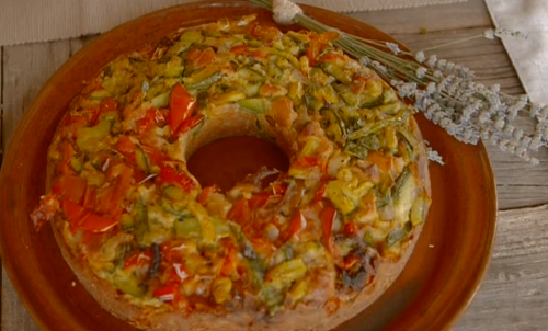 Simonetta's vegetable cake with bean salad on A Celebrity Taste Of Italy