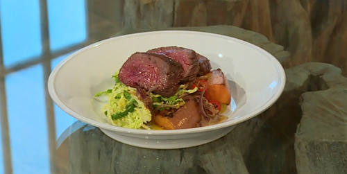 Peter Gordon's coconut Venison curry with pumpkin and mustard cabbage on Saturday Kitchen