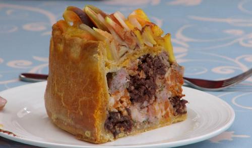 Yan's checkerboard hand raised pie on The Great British Bake Off 2017