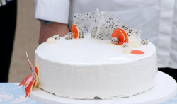 Kate's white chocolate, yuzu and lychee entremet cake on The Great British Bake 2017 final
