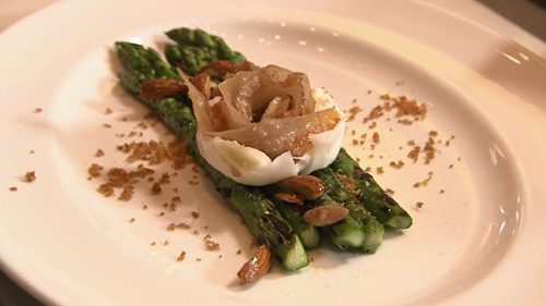 Nancy Silverton's asparagus with burrata cheese on Rick Stein's Road To Mexico