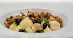 Brett's lemon curd and Italian meringue with blueberries dessert on MasterChef: The Profes ...