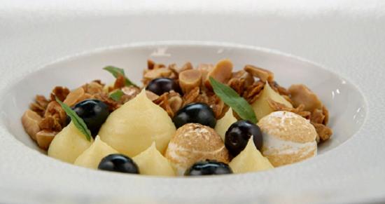 Brett's lemon curd and Italian meringue with blueberries dessert on MasterChef: The Profes ...