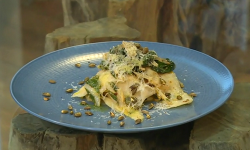 Rosie Birkett's celeriac ribbons with chard, garlic and pumpkin seeds on Saturday Kitchen