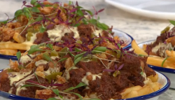 Pritesh Mody's chilli with beer cheese fries on Sunday Brunch