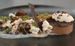 Stewart's chocolate custard with orange Chantilly cream and pop corn dessert  on  MasterCh ...