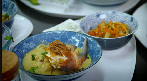 Tosin and Genevieve's Thai crab curry with sambal on My Kitchen Rules UK