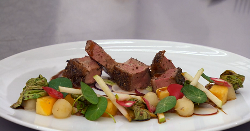 Gareth's roasted duck with schezwan pepper and lavender dish on MasterChef: The Professionals