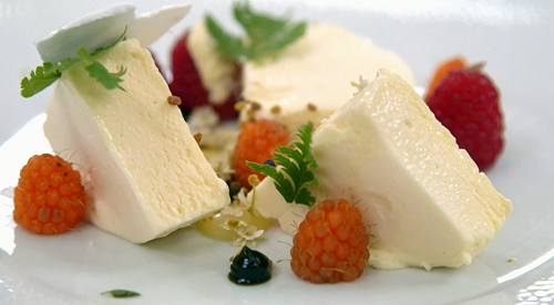 Ryan's iced elderflower mousse dessert on MasterChef: The Professionals