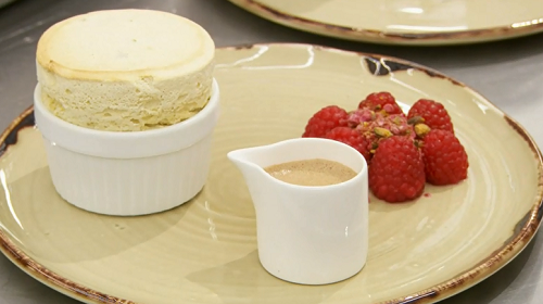 Gareth's pistachio souffle with raspberries and chocolate creme anglaise on MasterChef: Th ...
