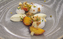 Craig from Maidenhead Italian meringue with caramelised peaches dessert on  MasterChef: The Prof ...