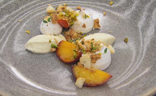 Craig from Maidenhead Italian meringue with caramelised peaches dessert on  MasterChef: The Prof ...