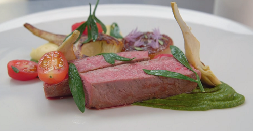 Craig's  cannon of lamb with salsa Verde on MasterChef: The Professionals