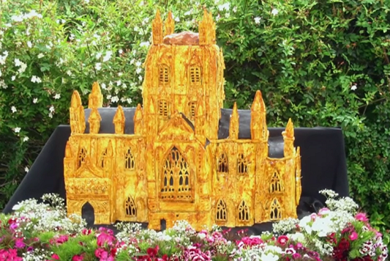 Lamprey pie in the shape of Gloucester cathedral for the Queen's Jubilee celebration on Ro ...