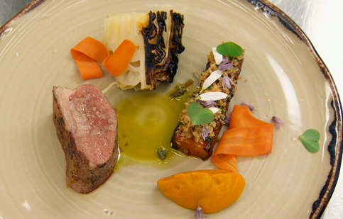 Tasso's loin of mutton with carrots, cabbage and a malt and mutton sauce dish on MasterChe ...