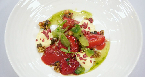 Louisa's strawberries with electric sauce dessert on MasterChef: The Professionals