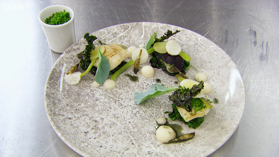 Matt's cod cheeks three ways signature dish on MasterChef: The Professionals