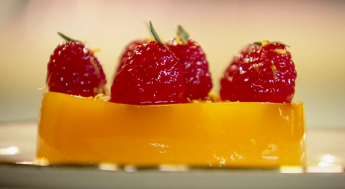 Paul Ainsworth's orange jelly with raspberries on Royal Recipes