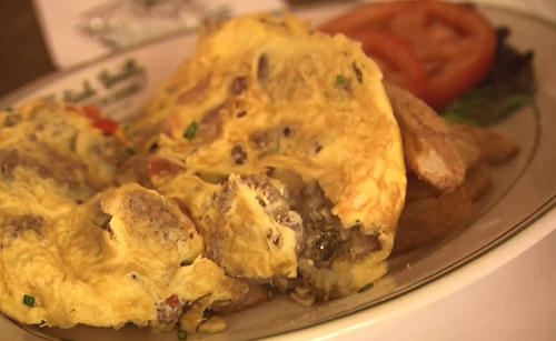 Hangtown fry oyster omelette on Rick Stein's Road To Mexico