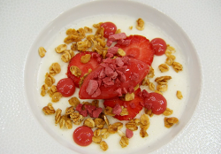Leo's buttermilk panna cotta with strawberry sorbet dessert on MasterChef: The Professiona ...