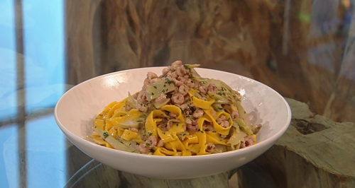 Theo Randall's  tagliatelle pasta with shrimp and artichoke dish on Saturday Kitchen