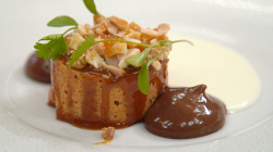 Tom's chocolate creamosa with a peanut sponge cake on MasterChef: The Professionals 2017
