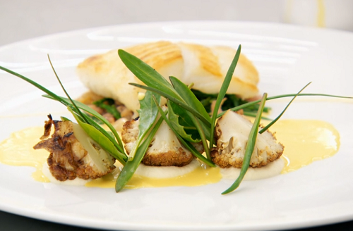 Ryan's roasted brill with cauliflower and a spiced curry and mead sauce on MasterChef: The Profe ...