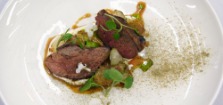 Jamie's roast lamb with Jersey Royals, chimichurri and avocado sauce, and mint liquorice t ...