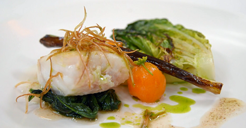 Steven's salted cod with wild garlic sauce on MasterChef: The Professionals 2017