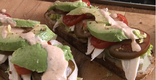 Rick Stein California open sandwich with sourdough bread and chipotle mayonnaise on Rick Stein&# ...