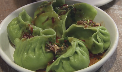 Spinach dumplings with sweet and sour sauce on Rick Stein's Road To Mexico