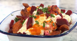 Pritesh Mody's sweet potato fries with beetroot and cheese on Sunday Brunch