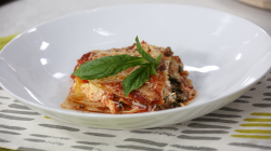Lynn Crawford's slow-cooker pesto lasagna with spinach and mushrooms on The Marilyn Dennis ...